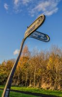 Stockton/Middlesborough signpost by steveearl