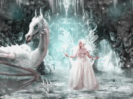 Snow fairy and the Dragon by TinaLouiseUk