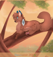 Dog in a tree by Dawnamir