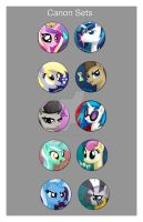 My Little Pony Canon Button Set by BrittanysDesigns