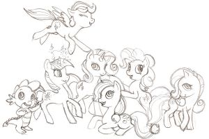 My Little Pony Sketch,Mane 6 and spike by harusame