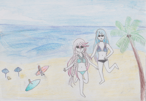 YUMELoid summer contest: Usiki and Phyllis by awesome0607