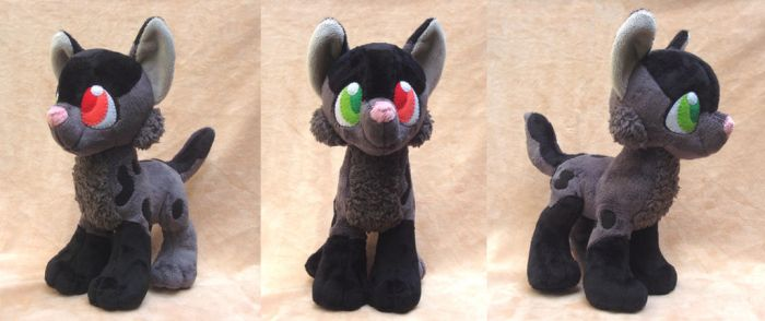 Custom Gray and Black Wolf Plush Commission by Pwyllo