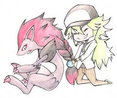 N and his Zoroark by Hokousha
