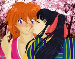 Kiss: Under the Sakura Tree by red-winged-angel
