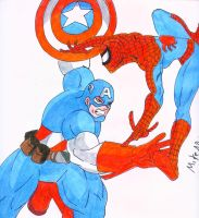 Captain America VS Spiderman by MikeES