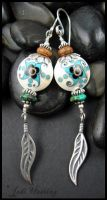 Lampwork and Sterling Earrings - Lakota Maiden by andromeda