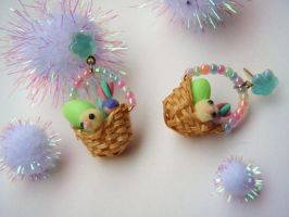 Micro Easter Egg hunt basket Earrings by PoniesOfDOOOM
