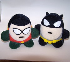 Batman and Robin Plushies by obesolete