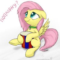 Fluttershy. Popcorn by rule1of1coldfire