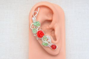 Climbing Roses - Rose Ear Cuff by BlackBlossomJewelry