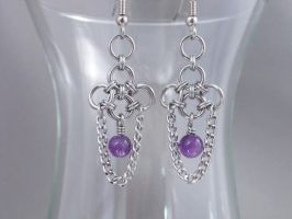 Japaneses Weave Amethyst Drop Chainmail Earrings by Pharewings