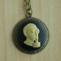 Black Gas Mask Necklace by MonsterBrandCrafts
