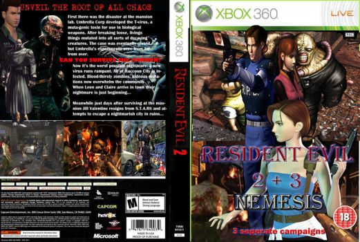 Resident Evil 2/3 Fan made Xbox 360 cover by evilronnie42