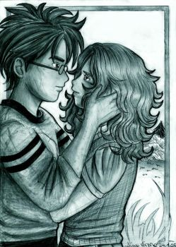 Harry and Hermione first kiss by Yamatoking