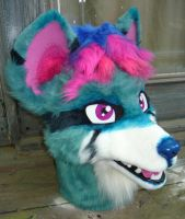 teal wolf head by LilleahWest