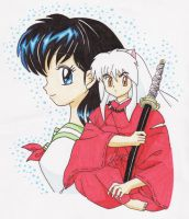 Kagome and InuYasha - colored by Mei-moon
