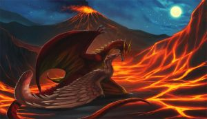 Rodan and Quetzalcoatl - Commission by magmi