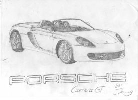 Porsche Carrera GT drawing by Jannomag