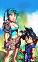 Dragon Ball _Bulma and Goku by Mundokk