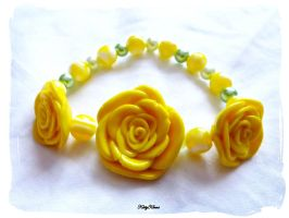 Yellow Rose Bracelets by Cateaclysmic