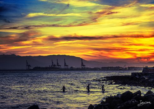 Autumn sunsets at the Banos del Carmen in Malaga by JuanChaves