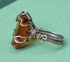 Antique Topaz Glass Ring by AniqueDesigns