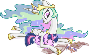 Celestia and Filly Twilight Drawing by scrimpeh