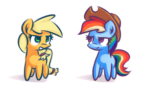Applejack and Rainbow Dash by Shovrike