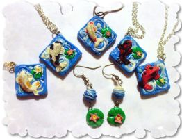 Koi Necklace and Earring sets by EruwaedhielElleth