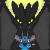Dreamwork / disney crossover: Toothless And Stitch by dragonfire53511