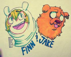Finn and Jake by Kaweki