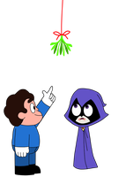 Rae Rae and Steven under the mistletoe by PyroManiac75
