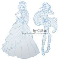 RQ: Lorein in ball dress and safari (sketch) by CuBur