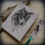 Wolf portrait book - handmade journal + bookmark by Dark-Lioncourt