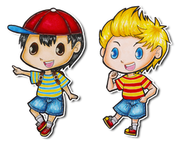 Earthbound - Ness and Lucas chibis by SpazztasticFanGirl