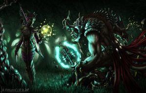 Sylvari vs Charr Fan Art by SkavenZverov