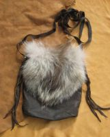 Wolf fur + leather bag by lupagreenwolf