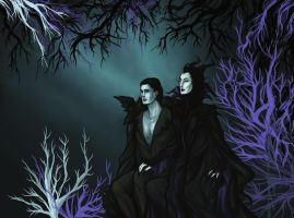 Maleficent and Diaval by hwilki65