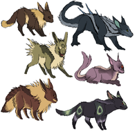 Blackfoot eeveelutions by umbbe