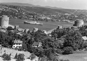 Turkey  Istanbul Bosphorus fortress 1970s by BlackWhitePictures