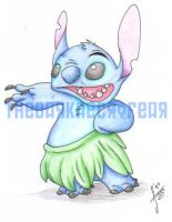 Stitch does the Hula by AdzStitch