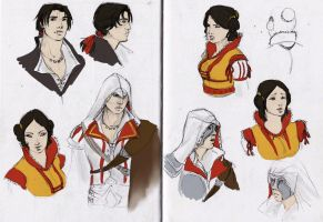 Ezio and Cristina sketches by MoonLightRose17