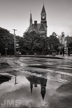 Jefferson Clock Tower and Puddle by steeber