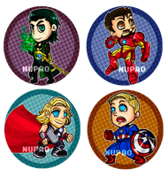 Sketch Avengers buttons by nupao