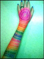 Rainbow Henna Drawing by Bast-The-Cat-Goddess
