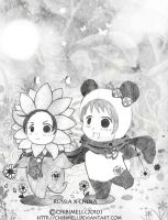 APH:Pandas and Sunflowers by chibimeli