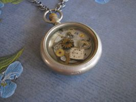 Steampunk Necklace Vintage  Antique Pocket Watch by bcainspirations