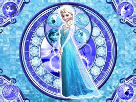 Elsa- Kingdom Hearts Stained Glass wallpaper by WinnieHappyAsPie