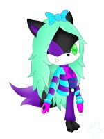 Trisha The Lil Cute Wolf-Mint-Lazuli Style- by RoninHunt0987